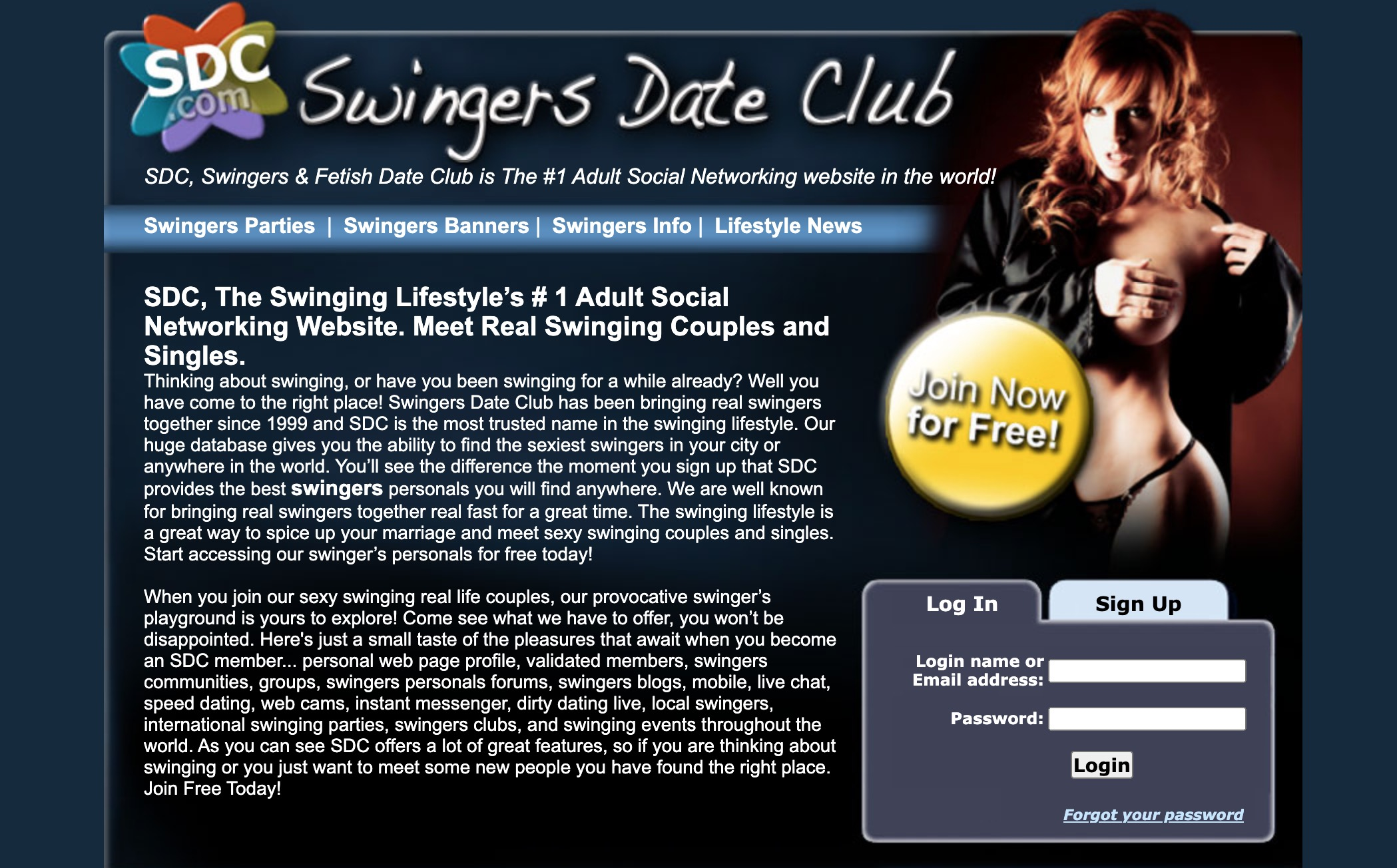 SwingersDateClub main page