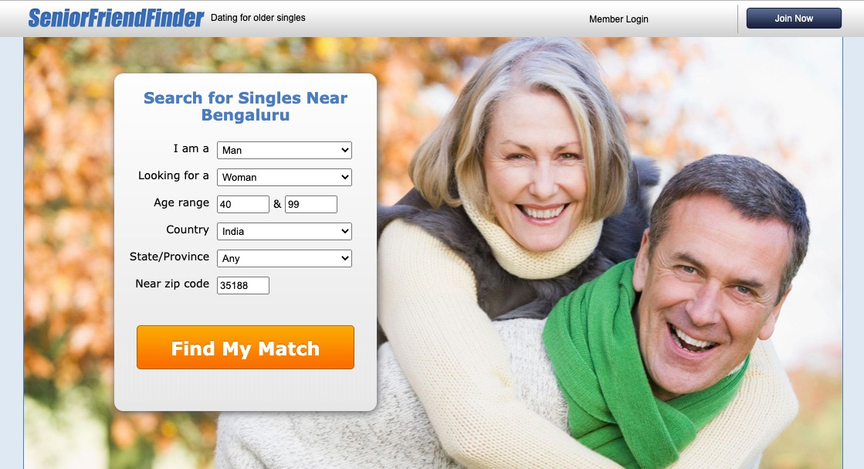 Senior FriendFinder main page