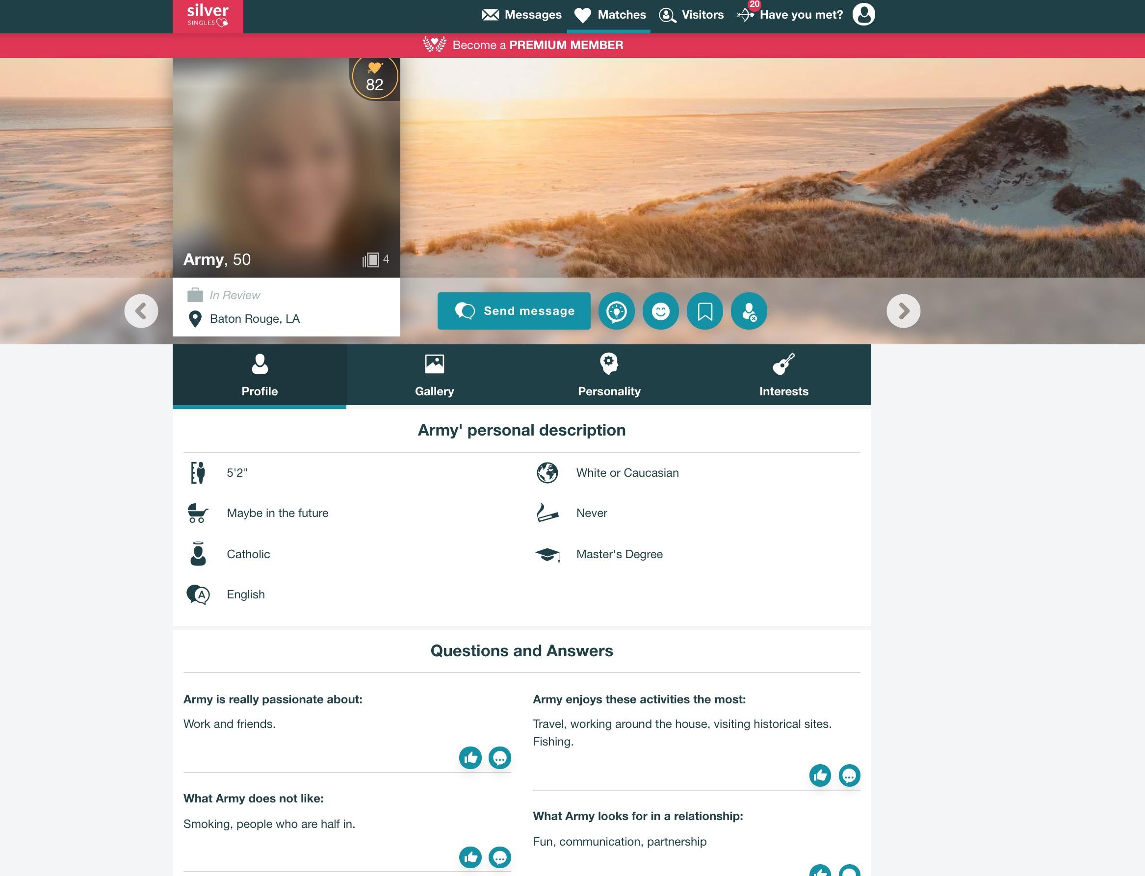 SilverSingles woman profile