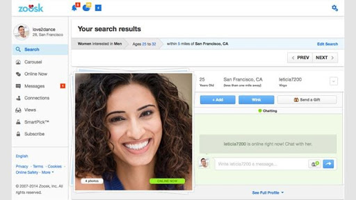 Zoosk home page