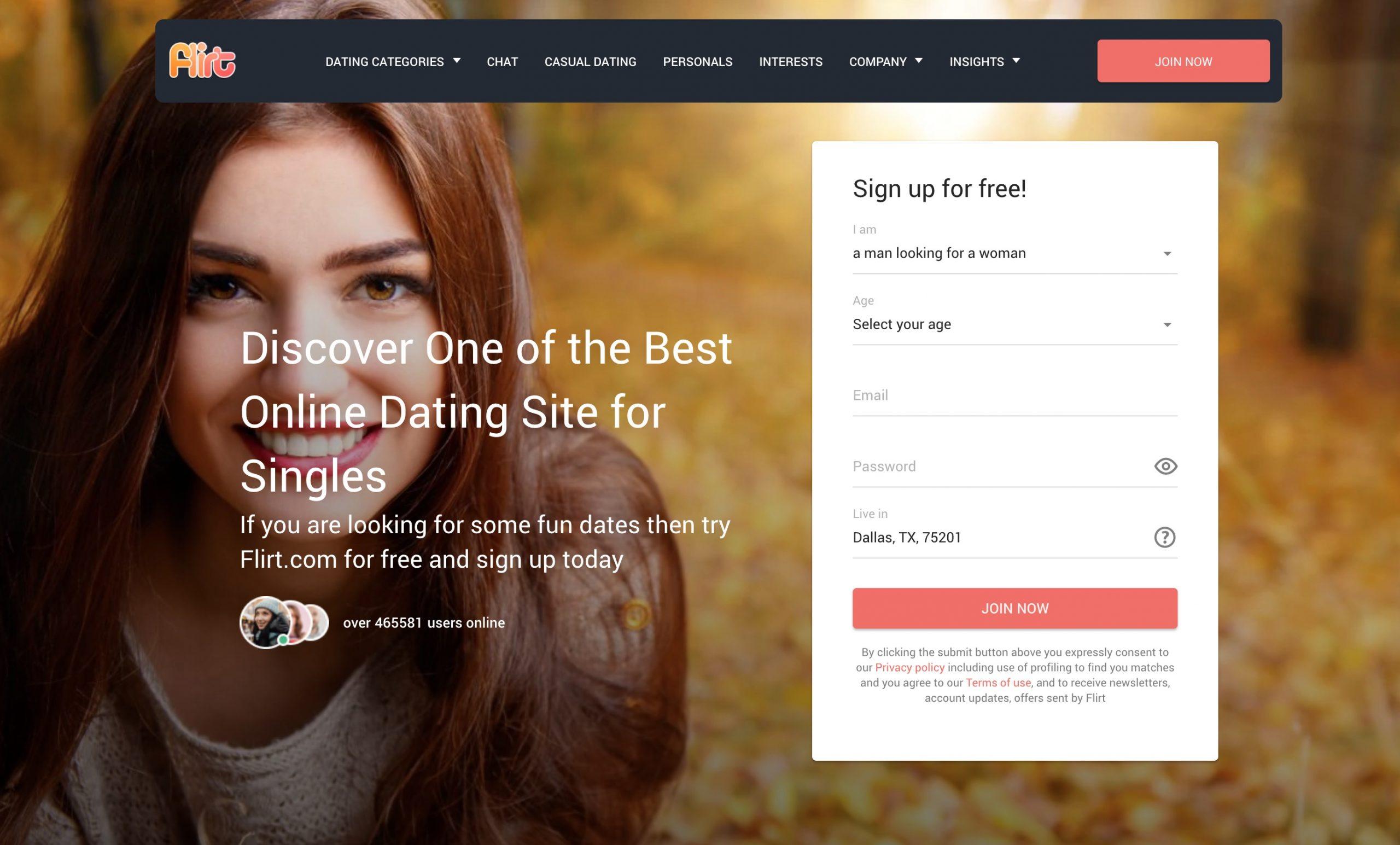 flirt.com main page