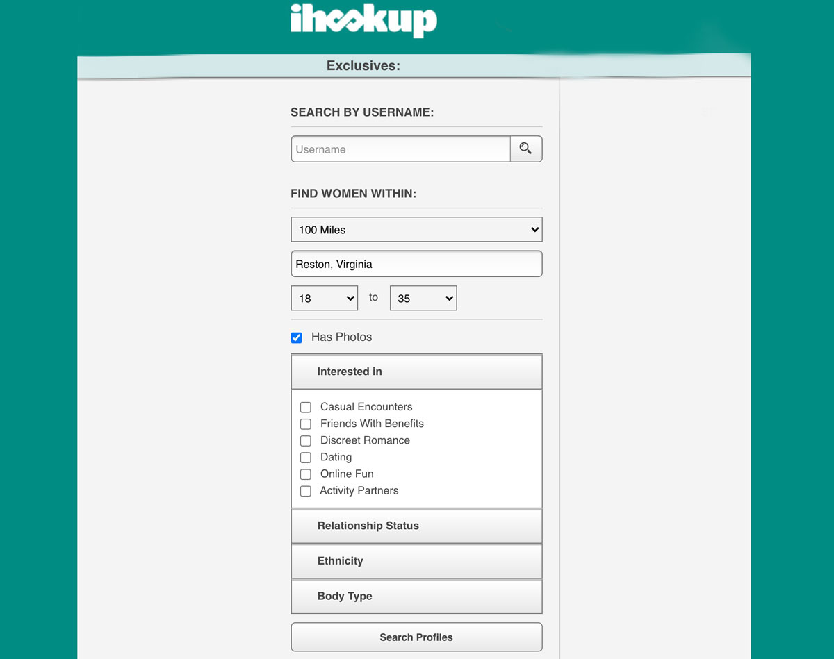 iHookUp search