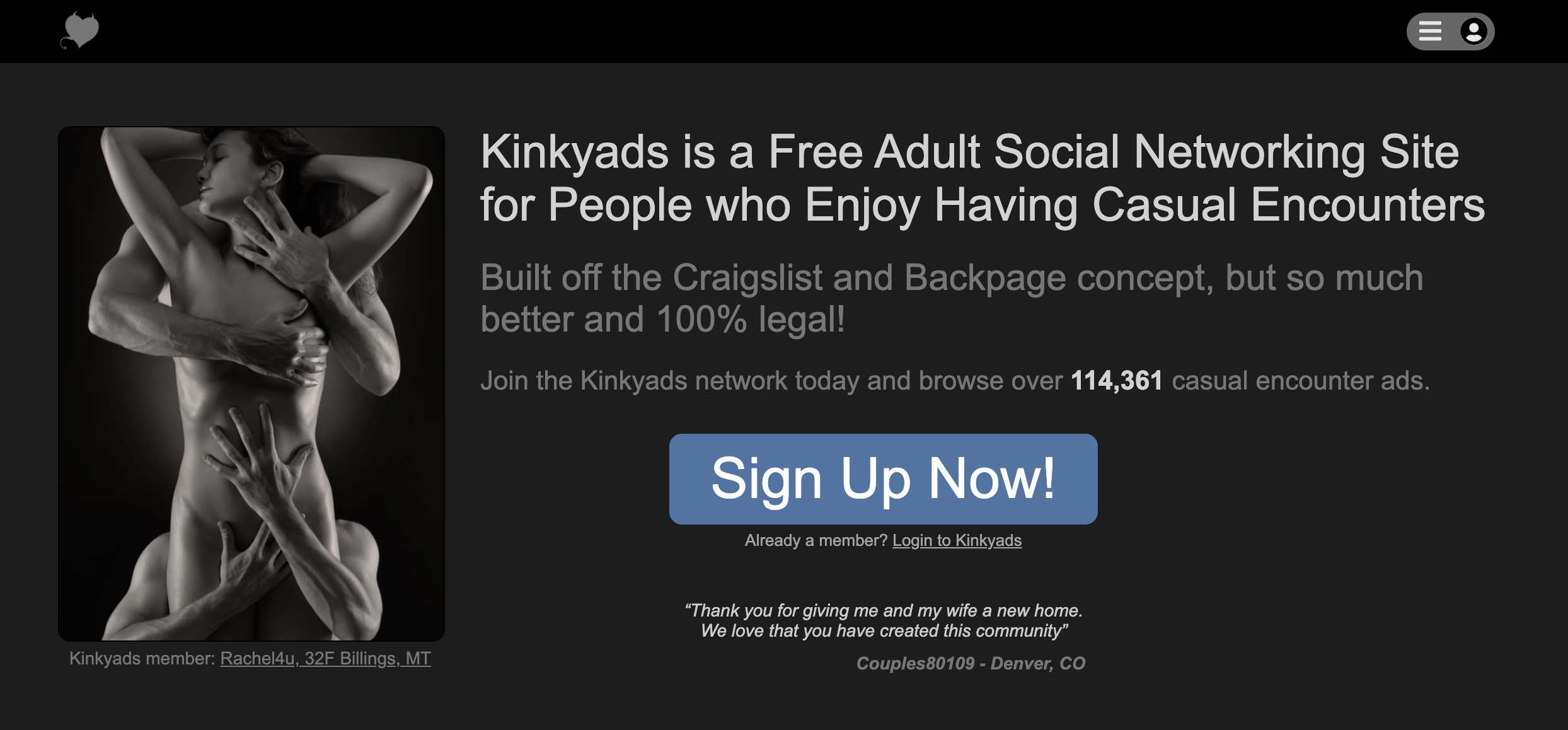 KinkyAds main page